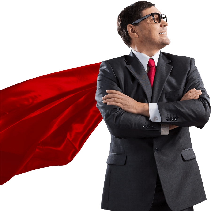 Businessman looking to the right wearing a red cape
